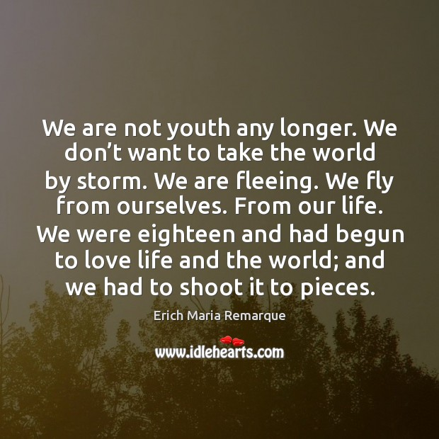 We are not youth any longer. We don't want to take Erich Maria Remarque Picture Quote