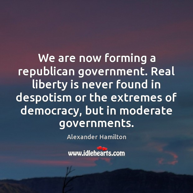 Image, We are now forming a republican government. Real liberty is never found