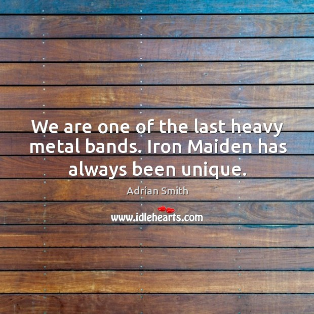 Image, We are one of the last heavy metal bands. Iron maiden has always been unique.