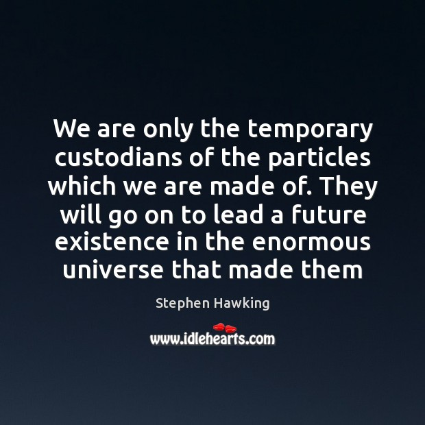 We are only the temporary custodians of the particles which we are Image