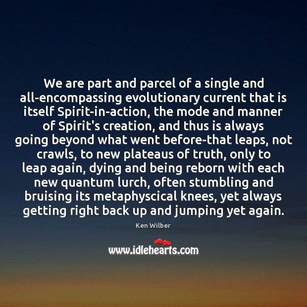 We are part and parcel of a single and all-encompassing evolutionary current Ken Wilber Picture Quote