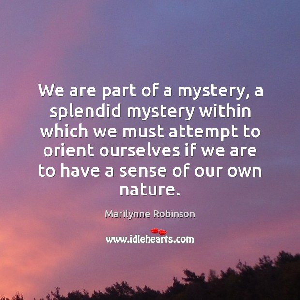 We are part of a mystery, a splendid mystery within which we Marilynne Robinson Picture Quote