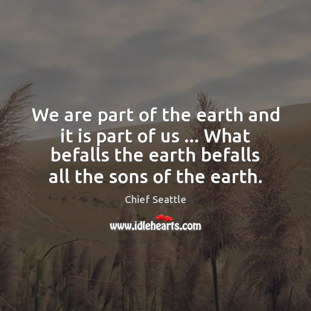 We are part of the earth and it is part of us Image