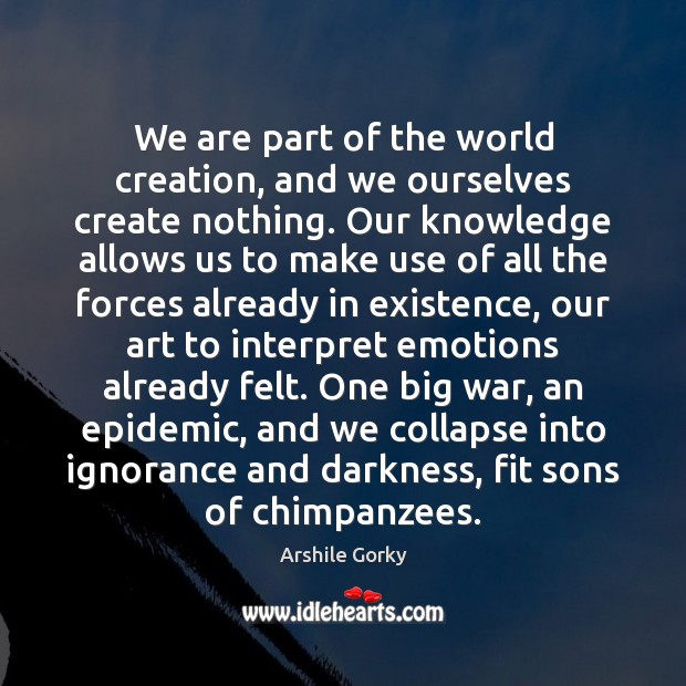 Image, We are part of the world creation, and we ourselves create nothing.