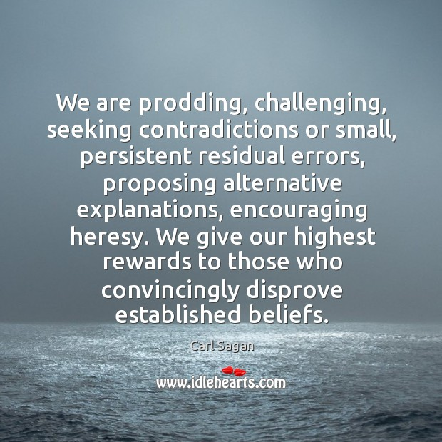 Image, We are prodding, challenging, seeking contradictions or small, persistent residual errors, proposing