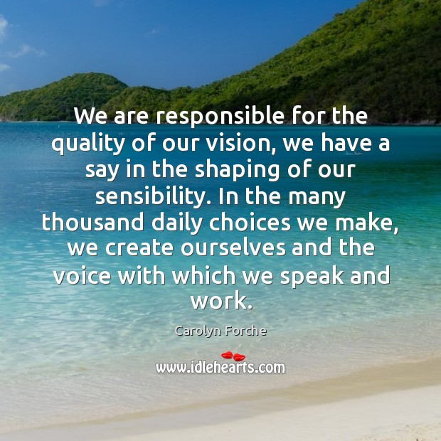 We are responsible for the quality of our vision, we have a Image