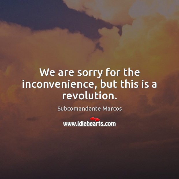We are sorry for the inconvenience, but this is a revolution. Image
