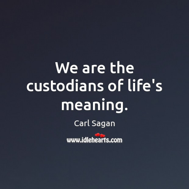 Image, We are the custodians of life's meaning.