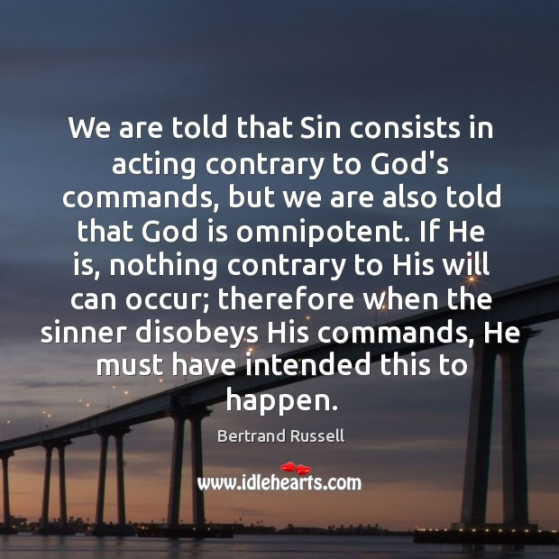 We are told that Sin consists in acting contrary to God's commands, Image