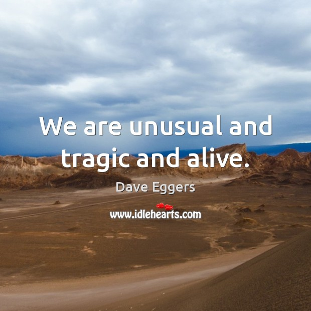 We are unusual and tragic and alive. Image