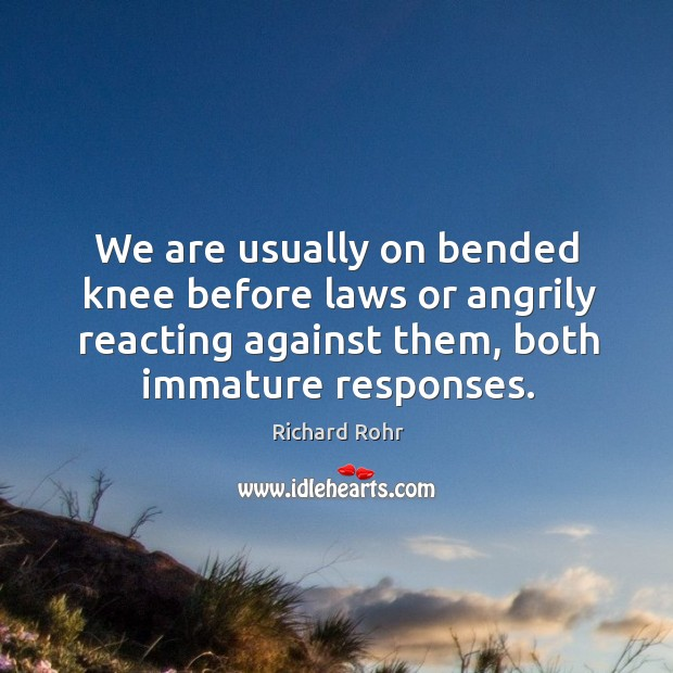 We are usually on bended knee before laws or angrily reacting against Image