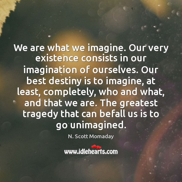 We are what we imagine. Our very existence consists in our imagination Greatest Tragedy Quotes Image