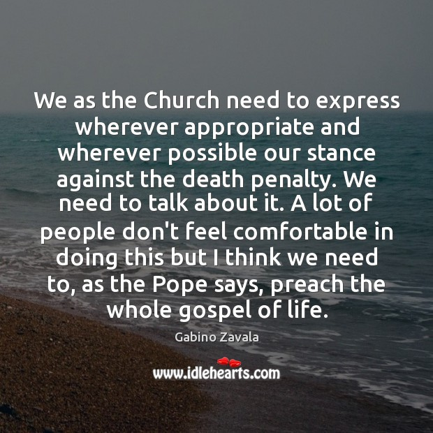 Image, We as the Church need to express wherever appropriate and wherever possible