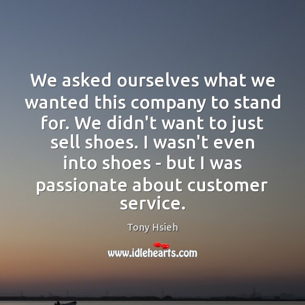 We asked ourselves what we wanted this company to stand for. We Tony Hsieh Picture Quote