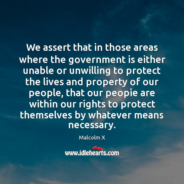 We assert that in those areas where the government is either unable Image