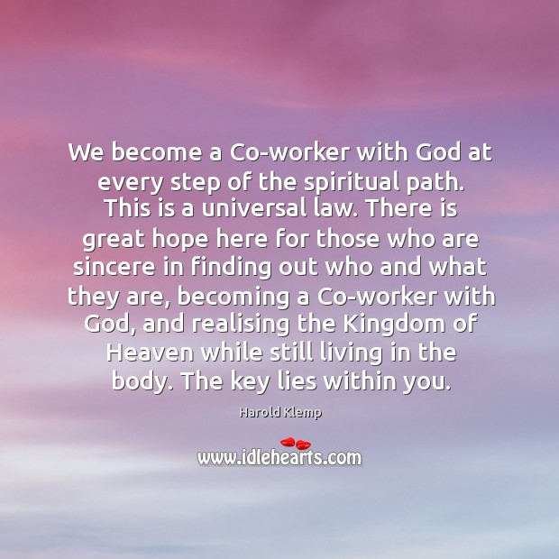 Image, We become a Co-worker with God at every step of the spiritual