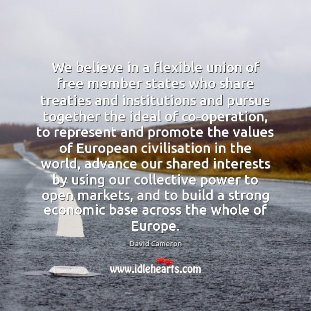 We believe in a flexible union of free member states who share David Cameron Picture Quote