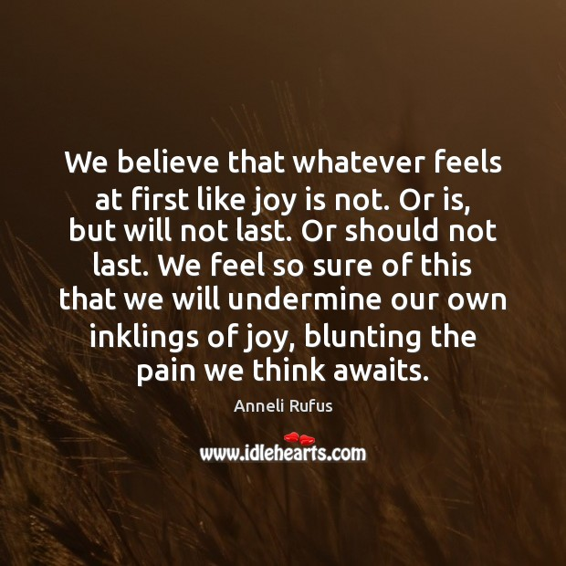 Image, We believe that whatever feels at first like joy is not. Or