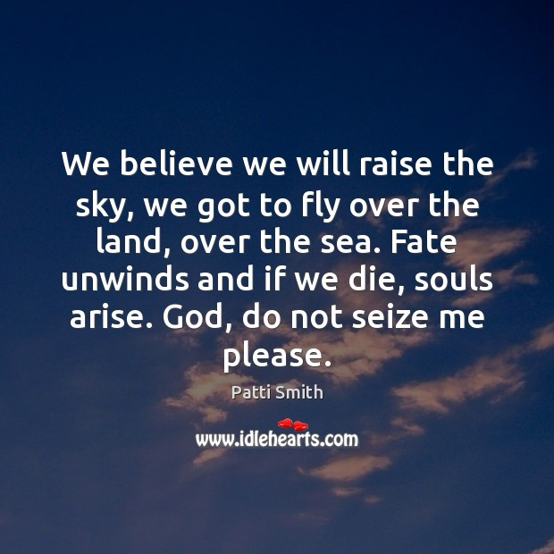 We believe we will raise the sky, we got to fly over Patti Smith Picture Quote