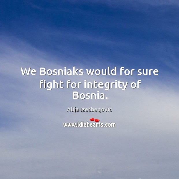 Image, We bosniaks would for sure fight for integrity of bosnia.