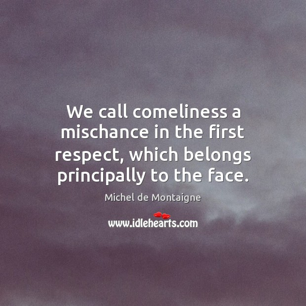 Image, We call comeliness a mischance in the first respect, which belongs principally