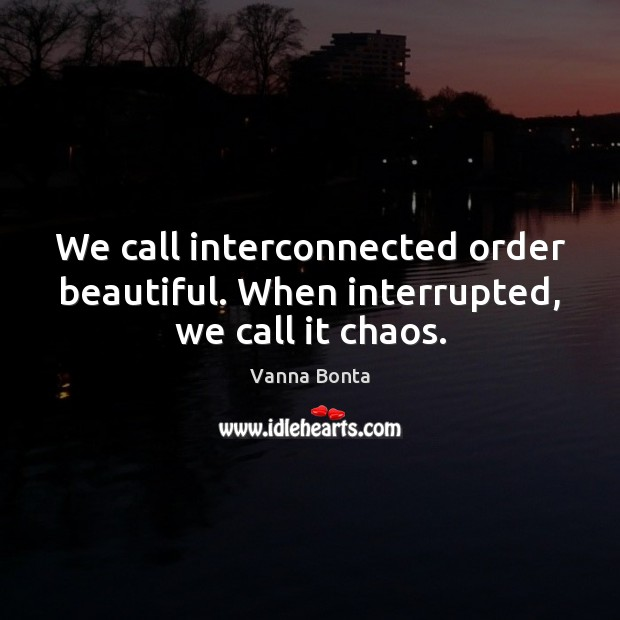 We call interconnected order beautiful. When interrupted, we call it chaos. Vanna Bonta Picture Quote