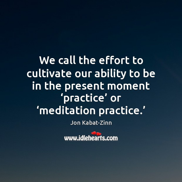We call the effort to cultivate our ability to be in the Jon Kabat-Zinn Picture Quote