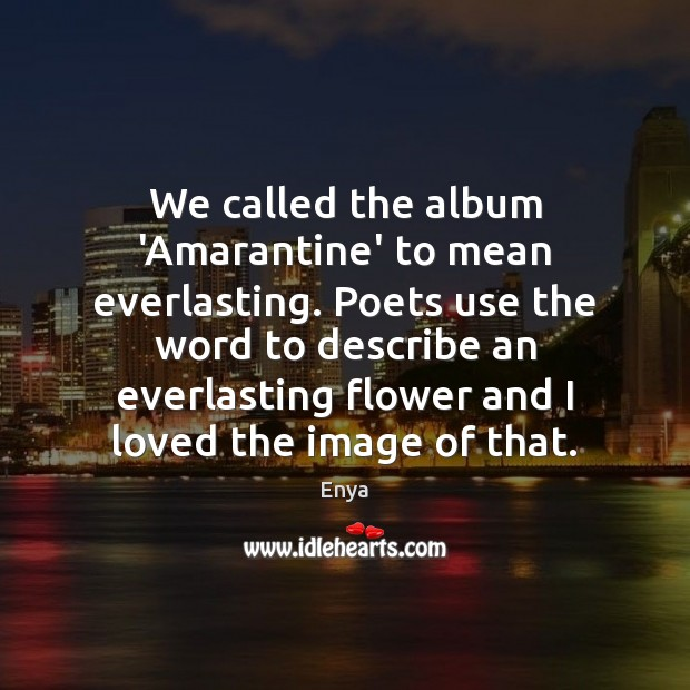Enya Picture Quote image saying: We called the album 'Amarantine' to mean everlasting. Poets use the word