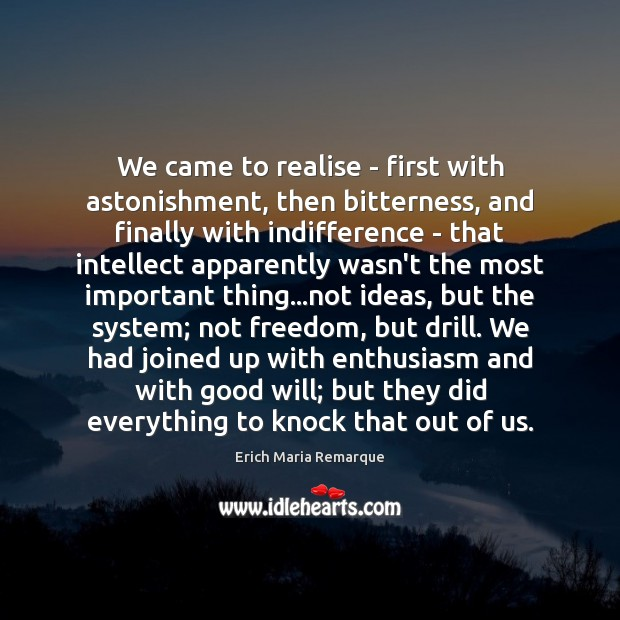We came to realise – first with astonishment, then bitterness, and finally Erich Maria Remarque Picture Quote
