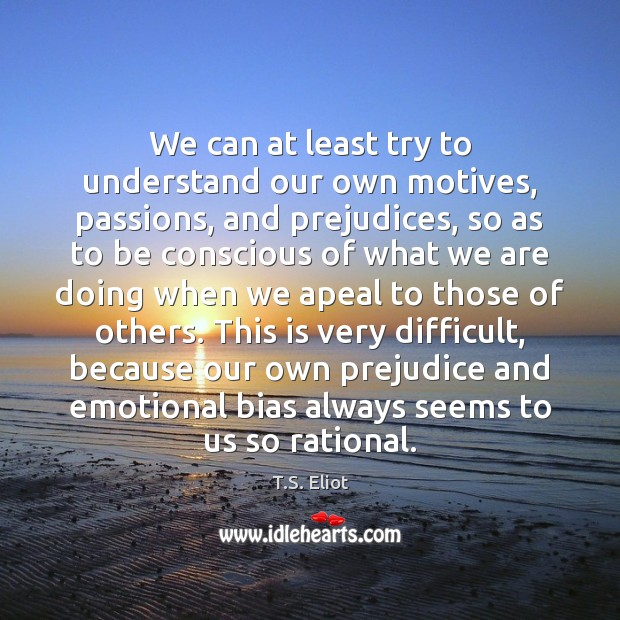 Image, We can at least try to understand our own motives, passions, and