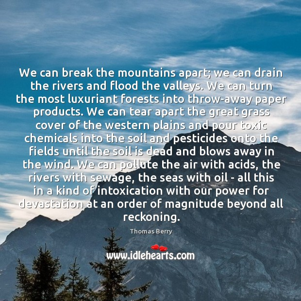 We can break the mountains apart; we can drain the rivers and Thomas Berry Picture Quote