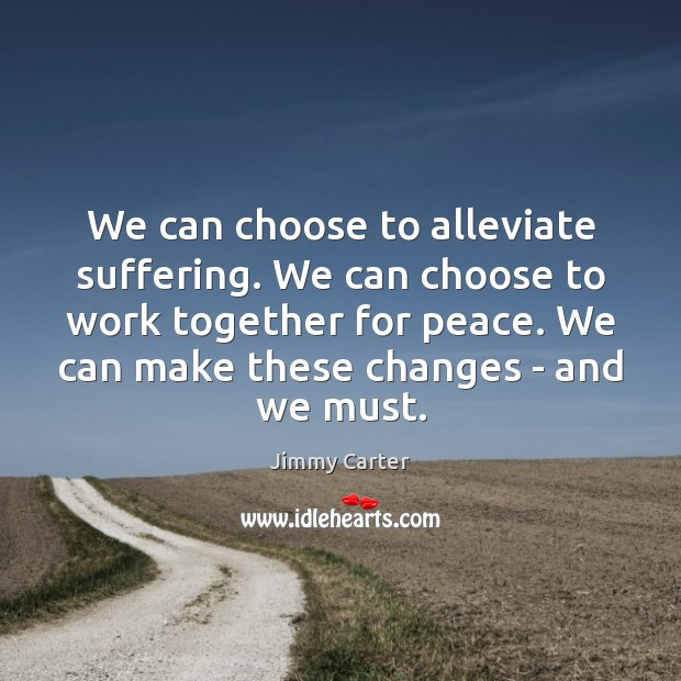 We can choose to alleviate suffering. We can choose to work together Jimmy Carter Picture Quote