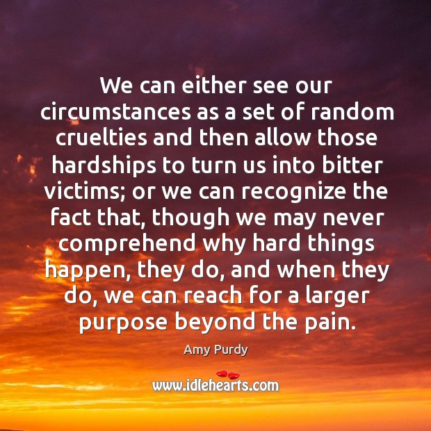 Image, We can either see our circumstances as a set of random cruelties
