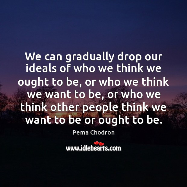We can gradually drop our ideals of who we think we ought Image