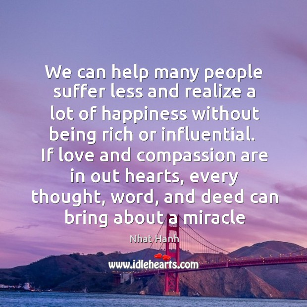 We can help many people suffer less and realize a lot of Image