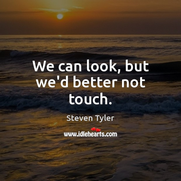 We can look, but we'd better not touch. Steven Tyler Picture Quote