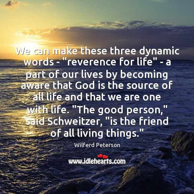 "Image, We can make these three dynamic words – ""reverence for life"" –"