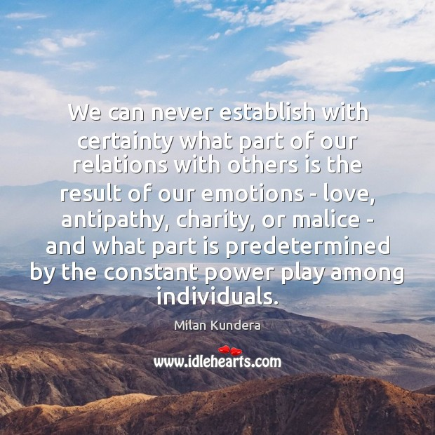 We can never establish with certainty what part of our relations with Image