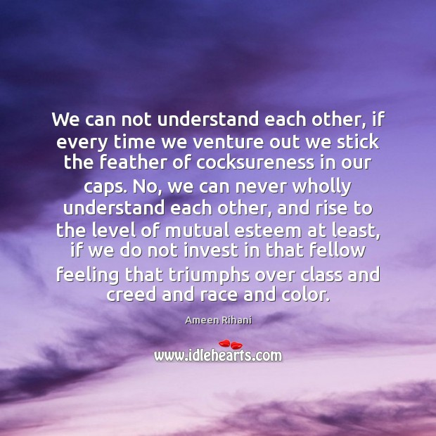 We can not understand each other, if every time we venture out Ameen Rihani Picture Quote
