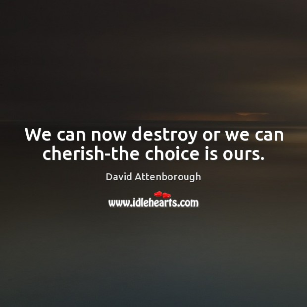 We can now destroy or we can cherish-the choice is ours. Image
