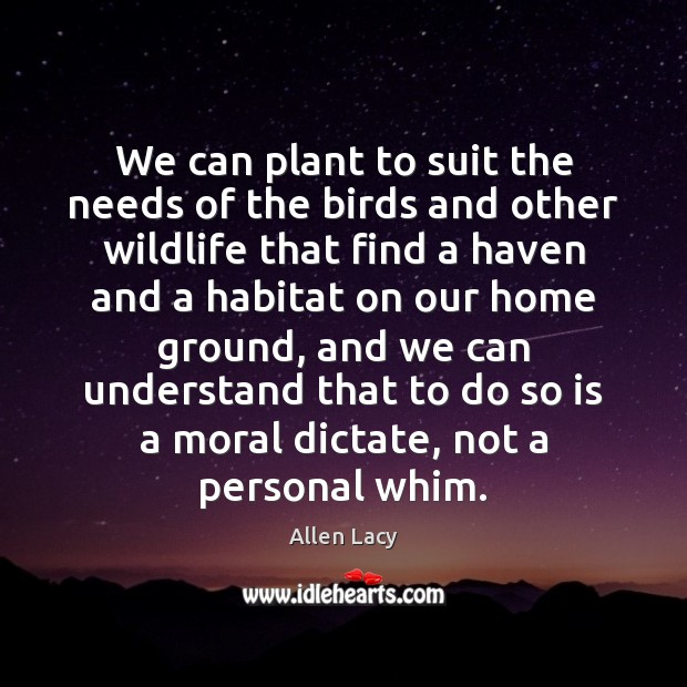 We can plant to suit the needs of the birds and other Allen Lacy Picture Quote