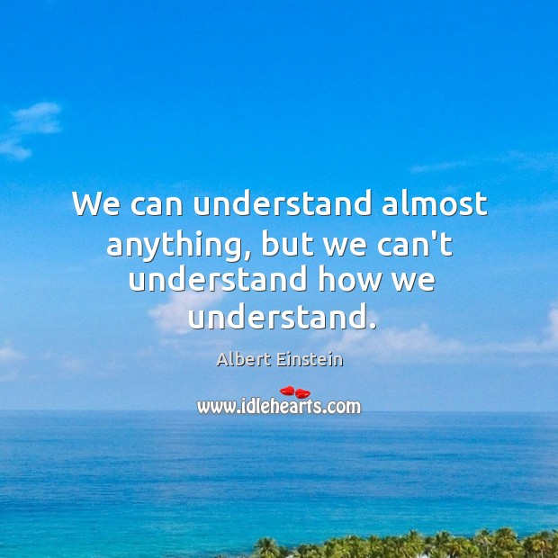Image, We can understand almost anything, but we can't understand how we understand.