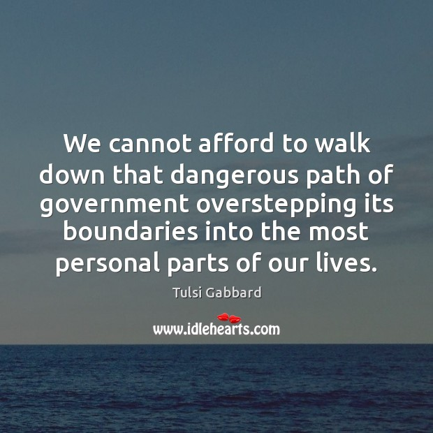 We cannot afford to walk down that dangerous path of government overstepping Tulsi Gabbard Picture Quote
