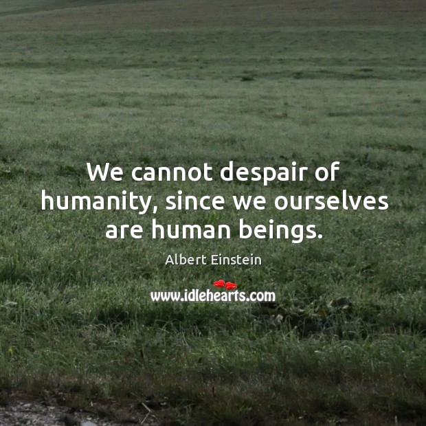Image, We cannot despair of humanity, since we ourselves are human beings.