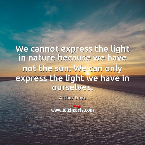 We cannot express the light in nature because we have not the Image