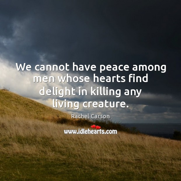 Image, We cannot have peace among men whose hearts find delight in killing any living creature.