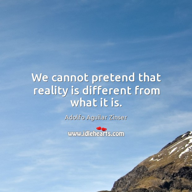 Image, We cannot pretend that reality is different from what it is.