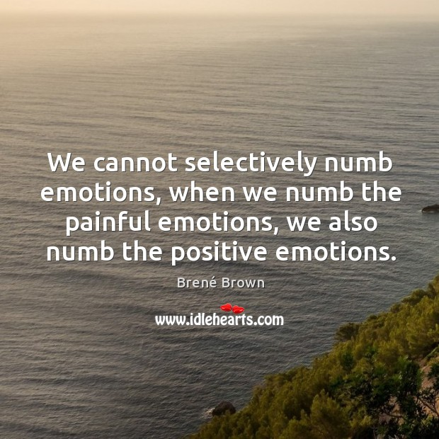 Image, We cannot selectively numb emotions, when we numb the painful emotions, we
