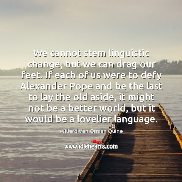 We cannot stem linguistic change, but we can drag our feet. If Image