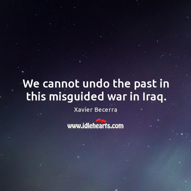 Image, We cannot undo the past in this misguided war in iraq.